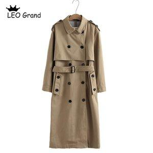Vee top 여성 캐주얼 솔리드 컬러 더블 가슴 아웃웨어 새시 오피스 코트 세련된 epaulet 디자인 긴 트렌치 902229 LJ201128