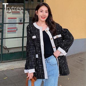 Trytree Autumn Winter Women Casual Plaid Coat Knitted Button Polyester Single Breasted Wide-waisted Office Lady Pockets Top Coat