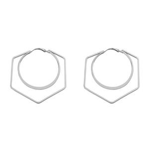 Unique Design Women Earrings Female Minimalist Hollow Double Circle Geometric Hoop Earrings Trendy 2020 Jewelry for Girls