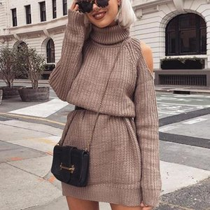 Zoulv 2021 Spring Turtleneck Knitted Sweater Skirt Sexy Neck Strapless Sweater Dress Skirt Long Sleeve Slim Oversize Pullover