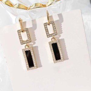 Women's Black Rectangular High-end Earrings Simple and Individual all-match Earrings Female 2020 New Year Gift