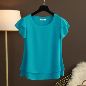 New Summer Women Blouse Loose O Neck Chiffon Shirt Female Short Sleeve Blouse Plus Size 6XL Shirts womens tops and blouses Top