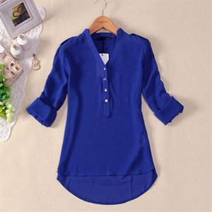 Women Spring Summer V Neck Chiffon Long Sleeve Casual Shirt Blouse Solid color Formal shirt Cardigan button blouse for women New