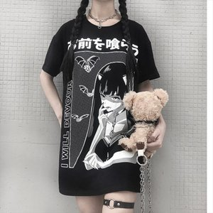 Quadratic element Bat vampire T shirt Print Gothic Streetwear Women Tops Loose Fashion Black T Shirt Cool Girl Punk
