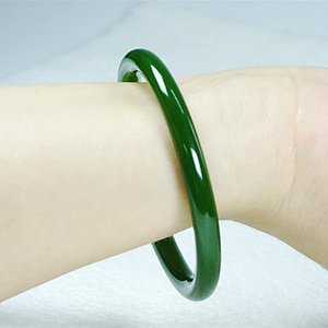 Natural Jade Jasper Fine Bracelet Young Girl Spinach Green Jade Bracelet Fine Stripe Women