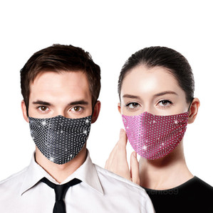 Designer Diamond Decoration Reusable Breathable Bling Face For Party Summer Sunscreen Protection Thin Section Mask
