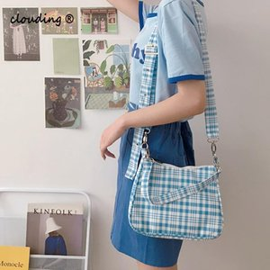 Cute Gingham Women Canvas Shoulder Bag Ladies' Checked Print Woolen Cloth Crossbody Bags Half Moon Handbag Plaid Tote for Girls