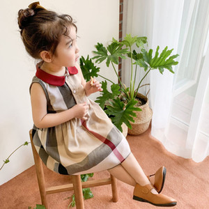 Yaz Kız Yaka Akademi Rüzgar Kolsuz Bandered Etek Yüksek Kaliteli Pamuk Bebek Çocuklar Büyük Ekose Elbise Çocuk Prenses Bebek Elbise