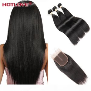 Hotlove Human Hair Bundles with Closure Malaysian Virgin Straight 3 Bundles with Closure 3 Wavy Part Great Quality Cheeap Weft 325g-350g Lot