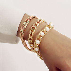 3pcs set Fashion Gold Color Pearl Multilayer Bracelets Bangles Set for Women Charm Party Jewelry Gift