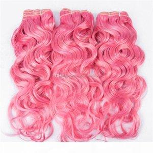 Rosado húmedo y ondulado cabello humano 3 ofertas de paquete #pink humano pelo rosa agua tejido de onda de agua brasileña virgen extensiones de cabello humano envío rápido