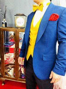 Brand New Groomsmen Shawl Lapel Groom Tuxedos One Button Men Suits Wedding Prom Dinner Best Man Blazer ( Jacket+Pants+Tie+Vest ) K913