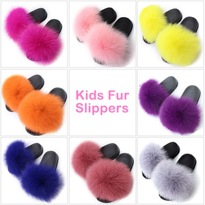 Kids Girls Fur Slippers Real Fox Fur Plush Shoes Children Outdoor Fluffy Slippers Non-slip Furry Home Slides Cute Plush Shoes Y201028