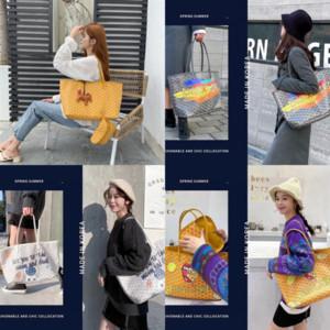 QxX2 Korea EMQ dog designer tooth o graffiti Goya 2020 new Korean fashion Handbag luxury handbagHandbag small CK net Graffiti red vegetable
