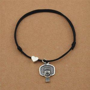 Heart Sports Charm Love Basketball Backboard Stands Hoop Pendant Bracelets for Basketball Lover Women Men Couple Jewelry Gifts