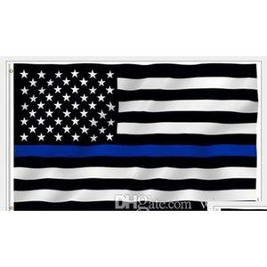 Linha azul da bandeira nacional bandeira americana linha vermelha fina EUA preto e azul banner fino com gêneros de latão as decorações para o partido dcpxi
