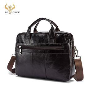 "Oil Waxy Leather Leather Design Business Pasta de negócios 15 ""Laptop Document Case Moda Attache Messenger Bag Tote Portfolio 9022 Q0112"