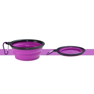Silicone Puppy Collapsible Bowl Pet Feeding Bowls with Climbing Buckle Outdoor Travel Portable Dog Food Container GWD1818