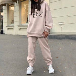 Print Women's Set Oversize Fleece Sport Two Piece Set Casual Tracksuits Woman Winter Hooded Long Sleeve Hoodie Pants Suit Y201128