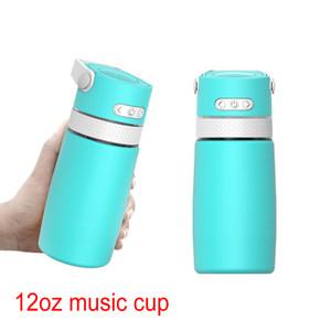 12oz 350ml Haut-parleur Music Cup Traveller Portable Double mural Portable Double mur en acier inoxydable bouteille d'eau avec poignée
