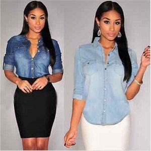 Ladies Denim Shirts Long Sleeve Blue Jeans Shirt Women Blusas Camisa Femininas Fashion Spring Plus Size Jeans Blouses