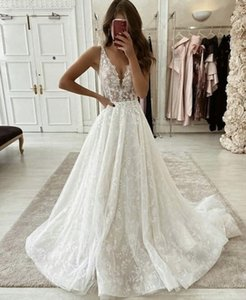 Arabic Lace A Line Wedding Dresses 2021 Plunging V Neck Backless Applique Tulle Bridal Gowns Sweep Train Vestidos De Novia Plus Size AL8678