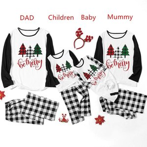 Parent-child Christmas Family Pajamas Sets Women Men Kids Baby Constrast Color Xmas Tree Letters T-shirt Tops and Plaid Pants Suit F120301