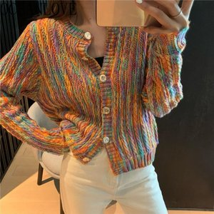2020 Spring Cardigans Rainbow Striped Short Sweaters Women Korean Student Casual Ins Chaqueta Mujer Fashion 15037
