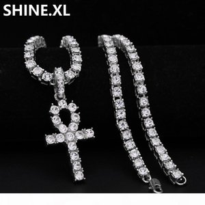 Mens Iced Out Hip Hop Gold Artificial Diamond Ankh Cross Lab Diamond 1 Row Tennis Chain 24 Inch Bling Jewelry