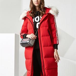 BOSIDENG Damenjacke Große Größe X-Long Parka 90 Ente Down Echt Pelz Overknee Wasserdichte Warme Outwear B70142144 201214