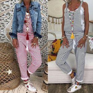 New Fashion Romper Donne Donne a strisce senza maniche Tangsuit Slose Slims Dungarees Complessiva Casual Harem Strain Strain Pantaloni Pantaloni