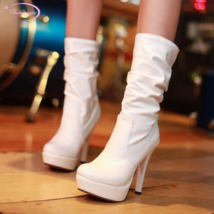 Casual style round toe mid-calf boots fashion pleated slip-on platform super high heel stiletto riding boots women's shoes