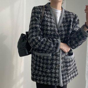 [EWQ] 2021 осень зима женский V-образным вырезом с длинными рукавами.
