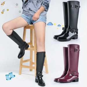 2020 New Fashion Women Shoes Punk Style Heel Riding Boots Zipper Shoes Knight Tall Boots Women Rain Large Size 40