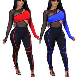패션 여성 복장 세트 긴 소매 메쉬 패치 워크 바디 수트 및 바지 세트 플러스 크기 Womens 2 피스 세트 2020 의류 세트 세트