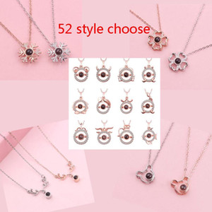 55 estilos Te amo collar en 100 idiomas Love Memory Proyección colgante collar regalo de fiesta HH9-3736