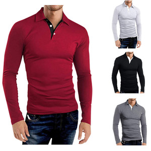 Spring Autumn New Men's Casual Long Sleeve Slim Warm T-shirt Tops Solid Color Lapel T Shirt For Men