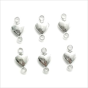 Wholesale Lot 100pcs Heart Antique Silver Charms Pendants DIY Jewelry Findings For Jewelry Making Bracelet Necklace Earrings 15*8mm