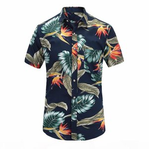 2019 New Summer Mens Short Sleeve Beach Hawaiian Shirts Cotton Casual Floral Shirts Regular Plus Size 3XL Mens clothing Fashion T200108