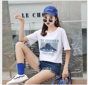 New Fashion T shirt Woman Spring Summer Letter Print Short Sleeve O Neck Cotton Spandex Women Tops JY1003