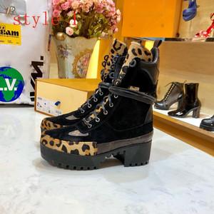 Top Calidad de lujo Mujeres de cuero Laureate Plataforma Desert Boot Lady Winter Cuero de Lujo Zapatos de Lujo 5 cm Botas de suela de goma de talón grueso