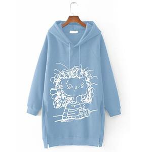 Women's Sweatshirt Cartoon Girl Print Long Sleeve Splited Hoodie Sweatshirt Pullover Tops Winter Clothing Women 2020 Sudaderas