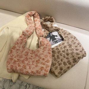 Fashion Leopard Pattern Fluffy Fleece Lamb Chain Shoulder Bags for Women 2020 Autumn Casual Crossbody Messenger Bag Handbag Tote