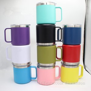 14oz Stainless Steel Coffee Mugs Candy Color Beer Cup with Handle Straws Friendly Insulated Vacuum Tumbler with Lids DHL Free Shipping