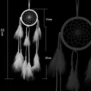 dream catcher decor with Feathers hanging Dreamcatcher Net India Style Hourse Decoration White