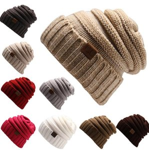 US Stock Knitted Hat Beanies Hat CC Women Warm Winter Simple Style Chunky Soft Stretch Men Knitted Beanie Skull Hats 15 Colors Hot CPA3303