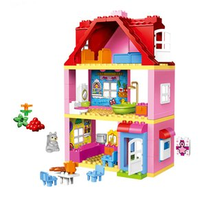 Classic Princess Big Size Compatible Duploed Building Block Family House Construction Building Blocks DIY Brick Toy For Children J1202