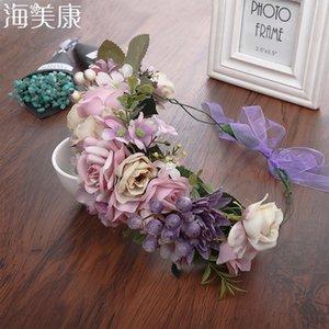 Haimeikang Lady Girl Sweet Princess Headband Floral Crown Flower Headband Wedding Party Hair Wreath Boho Bridal Headdress Q1202
