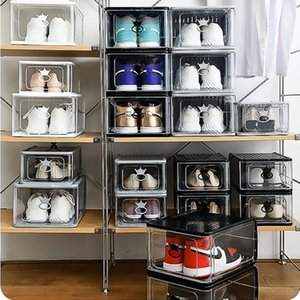 Large Storage Drawer Type Stackable Basketball Shoes Storage Boxes Cosmetic Wardrobe Finishing Box Fashion Shoe Cabinet Display
