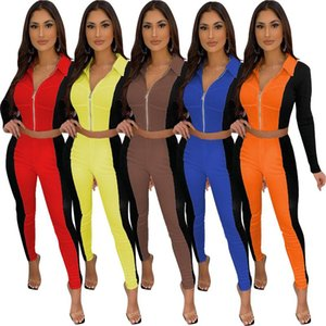Autumn Casual Sports Suit Rib Stitching Contrast Color Leisure Sports Two-piece Sets European and American Women Clothing